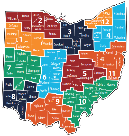District and county map of Ohio